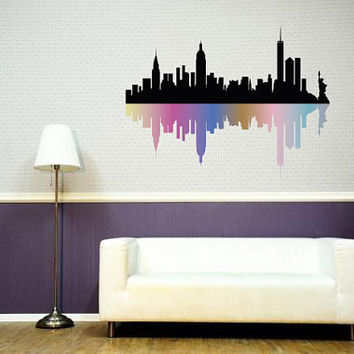 Fulcolor Wall Decal Vinyl Sticker Decals Art Decor Design Skyline City  Statue Of Liberty NY New Part 79