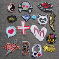 hot sell fashion patch hot melt adhesive applique embroidery patch DIY Cloth Accessories Patches C2209-C2234