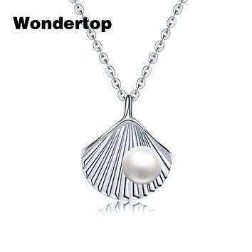 Wondertop Original 925 Sterling Silver Freshwater Pearl Shell Necklaces & Pendants For Women Fashion Jewelry 15.8 Inch length