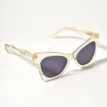 1950s Style Gold Glitter Ethel Butterfly Sunglasses