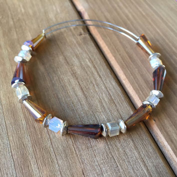 Autumn Leaves // Adjustable Beaded Bangle Bracelet // Alex and Ani Style