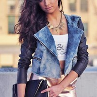 Acid Wash Denim Moto Jacket with Faux Leather Sleeves