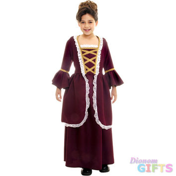 Girl's Costume: Colonial Girl, Red-Small