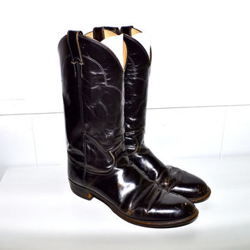 Make an Offer JUSTIN 1980s Vintage Distressed Black LEATHER Western Ranch Style Cowboy Boots Mens  size 10 Southwestern