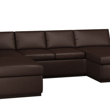 Leather U-Shaped Sectional with 2-Cushion Condo Queen Sleeper Sofa
