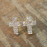 Cross Earrings - Clear Crystals & Gold Rhinestone Cross Earrings