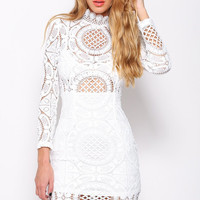 White Long Sleeve Floral Crochet Lace Turtleneck Bodycon Mini Dress