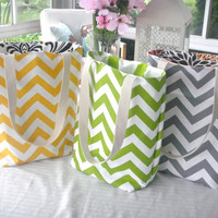 Reversible Chevron Tote Bags Available in SIX Colors, Tote Bags, Bags, Hand Bag, Book Bag, Beach Tote,Bridesmaids Gifts
