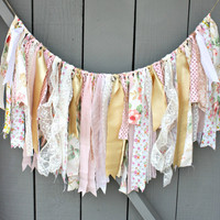 Vintage Fabric Bunting, Rose Gold Fabric Garland, Pink Gold Rag Tie Garland, Fabric Banner, Backdrop Photo Prop, Wedding Engagement Decor