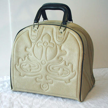 Bowling Bag with Tooled Design & Removable Rack - Vintage Tote