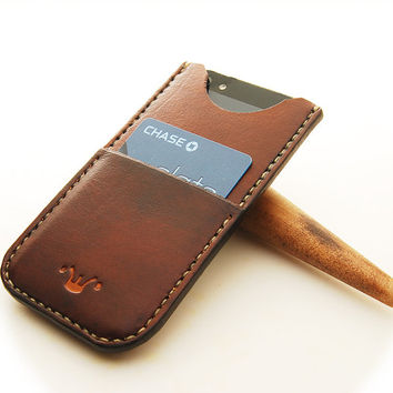 Handmade Leather Phone Case with Card Holder for iPhone 5. Handmade, hand stitched.