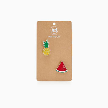 Pineapple & Watermelon Enamel Pins | Wet Seal
