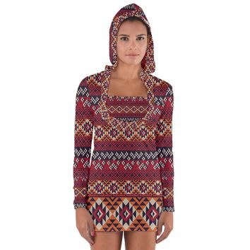Native American Pattern 8 Long Sleeve Hooded T Shirt Long Sleeve Hooded T-shirt