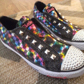 Vintage Sparkle Colorful kicks Flats tennis shoes ~ Kaleidoscope of color with Silver studs ~ Club kid ~ artsy Size 7 1/2