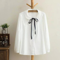 White Bow-Tie Long-Sleeve Collar Shirt