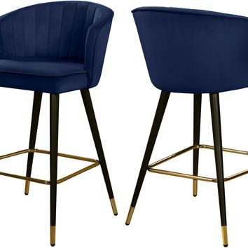 Cassie Navy Velvet Stool (set of 2)