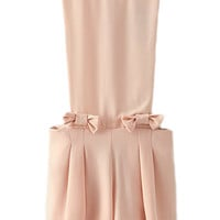 ROMWE Bowknot Embellishment Pleated Pink Playsuit