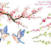 Wedding clipart - Hand painted watercolor cherry blossoms, bamboo, 2 blue birds  printable instant download  for  wedding invitations