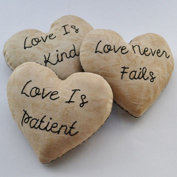 Love is Patient - Love is Kind - Love Never Fails - Decorative Pillows - Bowl Fillers - Tucks - Wedding - 1 Corinthians - Black Gingham