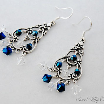 Swarovski Crystal Chandelier Earrings, Navy Blue and Clear Bicone Crystal Chandelier Earrings, Silver, Nickel Free