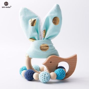Let's Make 2pc/1lot Baby Teether Bunny Ear DIY Teething Wooden Bracelets Made Beech Animals Shower Gift Play Gym Toy Baby Rattle