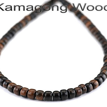 WN-001 Natural Kamagong Wood Sterling Silver Unisex Surf Choker Men Necklace.