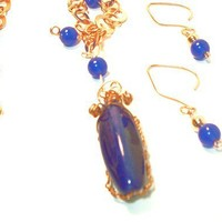 Copper Chain and Royal Blue Lapis Swirl Pendant by lindab142