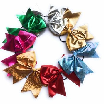Girls 7 inch Metallic Shiny Holographic Cheer Bow Ponytail Holder