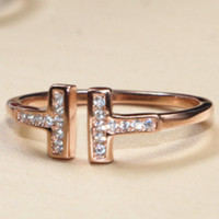 Tiffany & Co Double T-Open Ring T-letter Ring Gold-plated Ring 18K Rose F0320 Rose gold