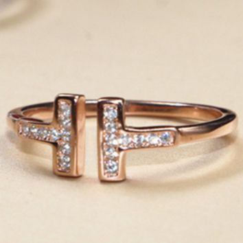 Tiffany   Co Double T-Open Ring T-letter Ring Gold-plated Ring 1 535a21732799