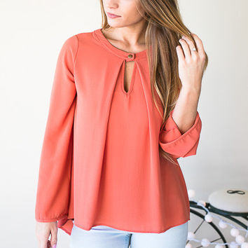 Pleated Key Hole Front Long Sleeve Top