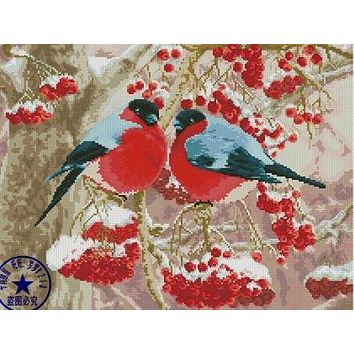Top Quality Lovely Cute Counted Cross Stitch Kit Winter Robin Robins and Cherry Berry Berries, Winter Snow Birds