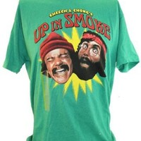 "Cheech and Chong Mens T-Shirt - ""Up In Smoke!"" Classic Movie Image on Green"