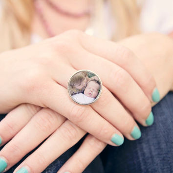 Personalized Ring Jewelry... Personalized Ring with Photo. Large sized adjustable photo ring, Sterling Silver Plated in Square or Round