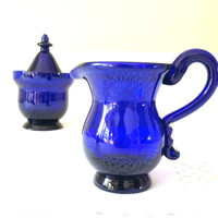 Vintage Fine Cobalt Blue Sugar Bowl and Creamer/Hand-Blown/Pontil Mark - Ca. 1980's
