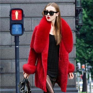 Euramerican style winter spring women fur coat sheep shearing coat fox fur colar fur sleeve long coat large style.