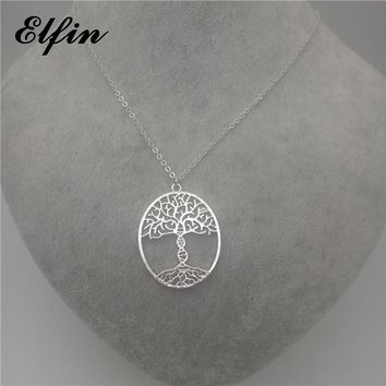 Elfin 2018 Trendy bioscience Molecule Necklace Gold Color Silver Color Tree of life with a DNA Pendant Necklace Women steampunk