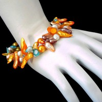 Freshwater Dyed Pearl Coil Wrap Bracelet Multi Color