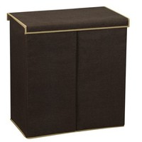 Household Essentials Double Hamper Laundry Sorter with Magnetic Lid Closure, Coffee Linen