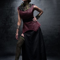 High Quality Costume Steampunk Gothic Futuristic Game of Thrones Inspired Deep Red/Plum Leatherette Long Line Corset