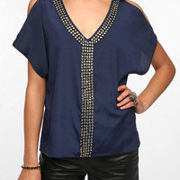 Sparkle & Fade Jeweled Cold Shoulder Blouse