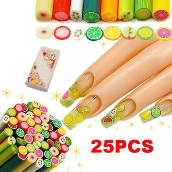 25Pcs Polymer Clay Nail Art Fimo Fruit Decoration Slice Rod Sticks DIY Nails Accessories 2018 Best Selling Products