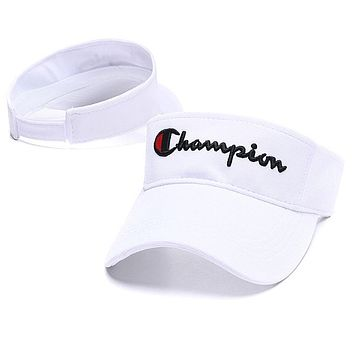 Champion Summer Popular Couple Embroidery Sports Sun Hat Baseball Cap Hat White