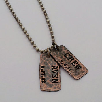 Hand Stamped Necklace For Dad, Son, Grandson, New Father, Brother
