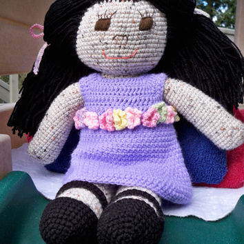"""17"""" (43cm) Crochet Doll. Comes with two dresses in purple and green. Gift for child. Unique gift"""