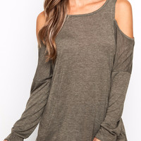 MARLED KNIT COLD SHOULDER TOP