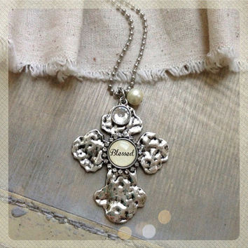 Blessed Silver hammered chunky cross necklace