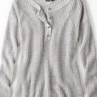 AEO Women's Henley Sweater (Grey Marl)