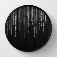 Fairy Lights on Wood 02 Wall Clock by Aloke Design