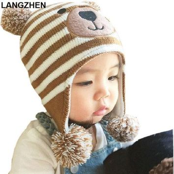 2017 New Langzhen Baby Hats 3 Sizes 1 5 Years Boys Girls Hats Kids Winter Hats Bonnet Enfant Hat For Children Baby Muts Kf039
